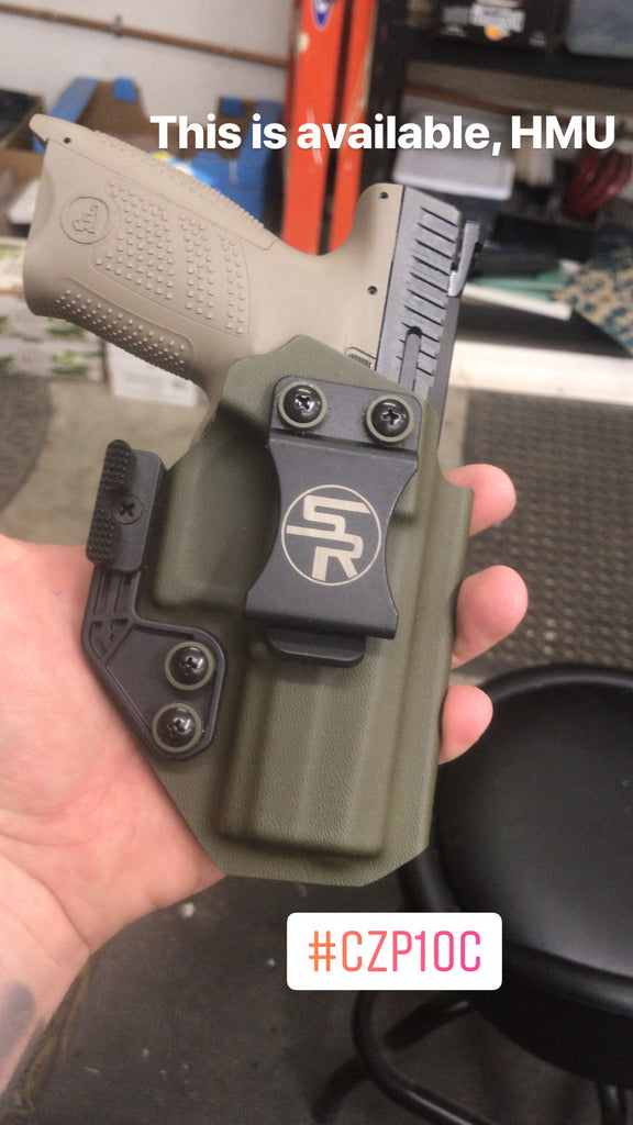 "IWB ""Trey"" CZ p10c Kydex Holster in OD Green - Discounted"