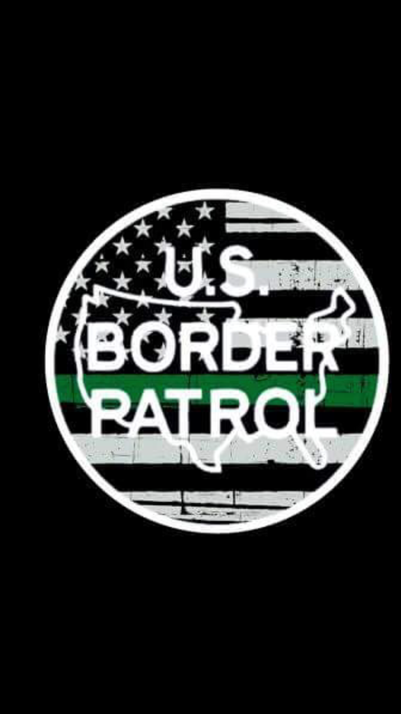 "Border Patrol Green Line Patch  3"" Circle Rubber/PVC patch with Velcro backing. Border Patrol Logo with black and white flag"