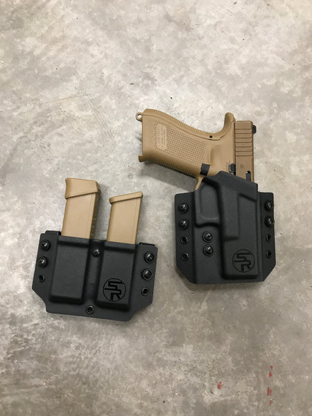 """Range Day Combo"" OWB Kydex Holster + Separate Double Magazine Carrier"