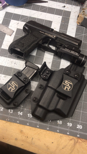 """Flush Killer Combo"" IWB Kydex Holster w/Light + Separate Single Magazine Carrier - Stay Ready Gear LLC™"