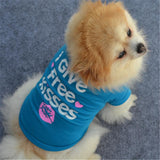 Dog Puppy Shirt With Free Kisses Printed Design