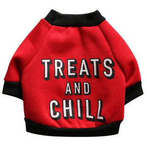 Dog Sweater Jacket With Treats And Chill Printed