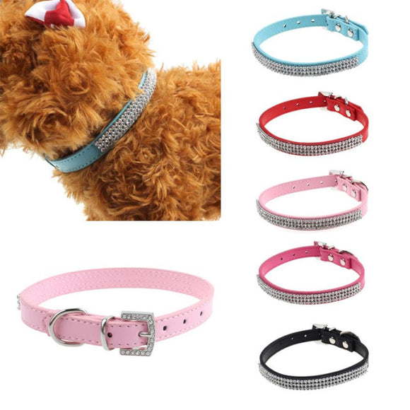 Leather Collar For Small Dogs With Bling Rhinestones Cute And Adjustable
