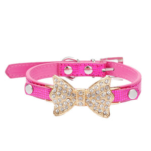 Bow Dog Collar With Bling Rhinestones