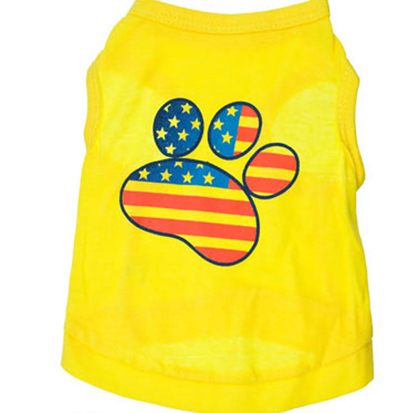 Dog Yellow Sleeveless Shirt With USA Flag For Small Dogs