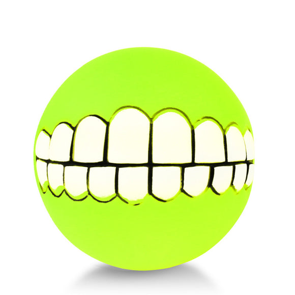 Dog Grin Ball Funny Teeth Denture Printed Silicon Chew Toy