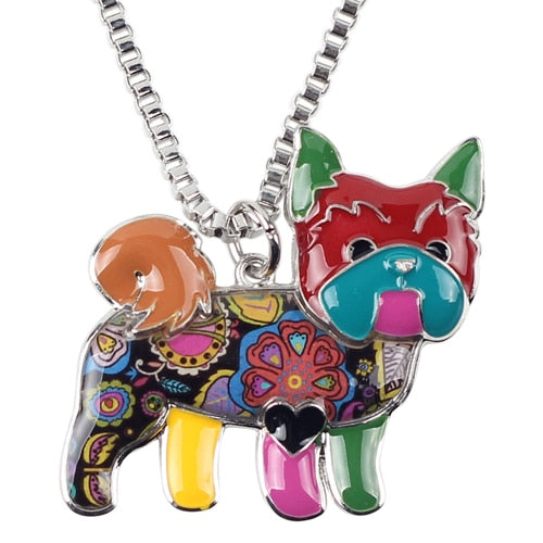 Colorful Yorkie Dog Pendant Necklace