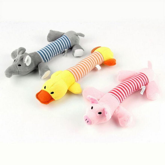 Pig Duck Elephant Squeaky Chew Toys For Dogs Puppies Stuffed Plush