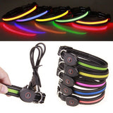USB Rechargeable Dog LED Collar Glow Light-Up For Night Dusk Safety