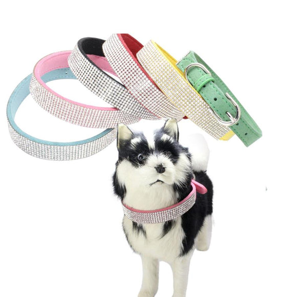 Dog Rhinestone Collar Studded Sparkly Bling