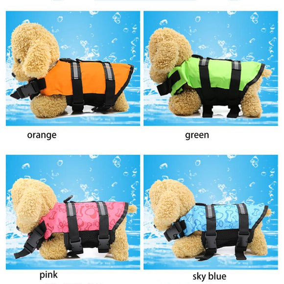 Dog Swimming Life Vest Jacket With Rescue Handle 4 Bright Colors