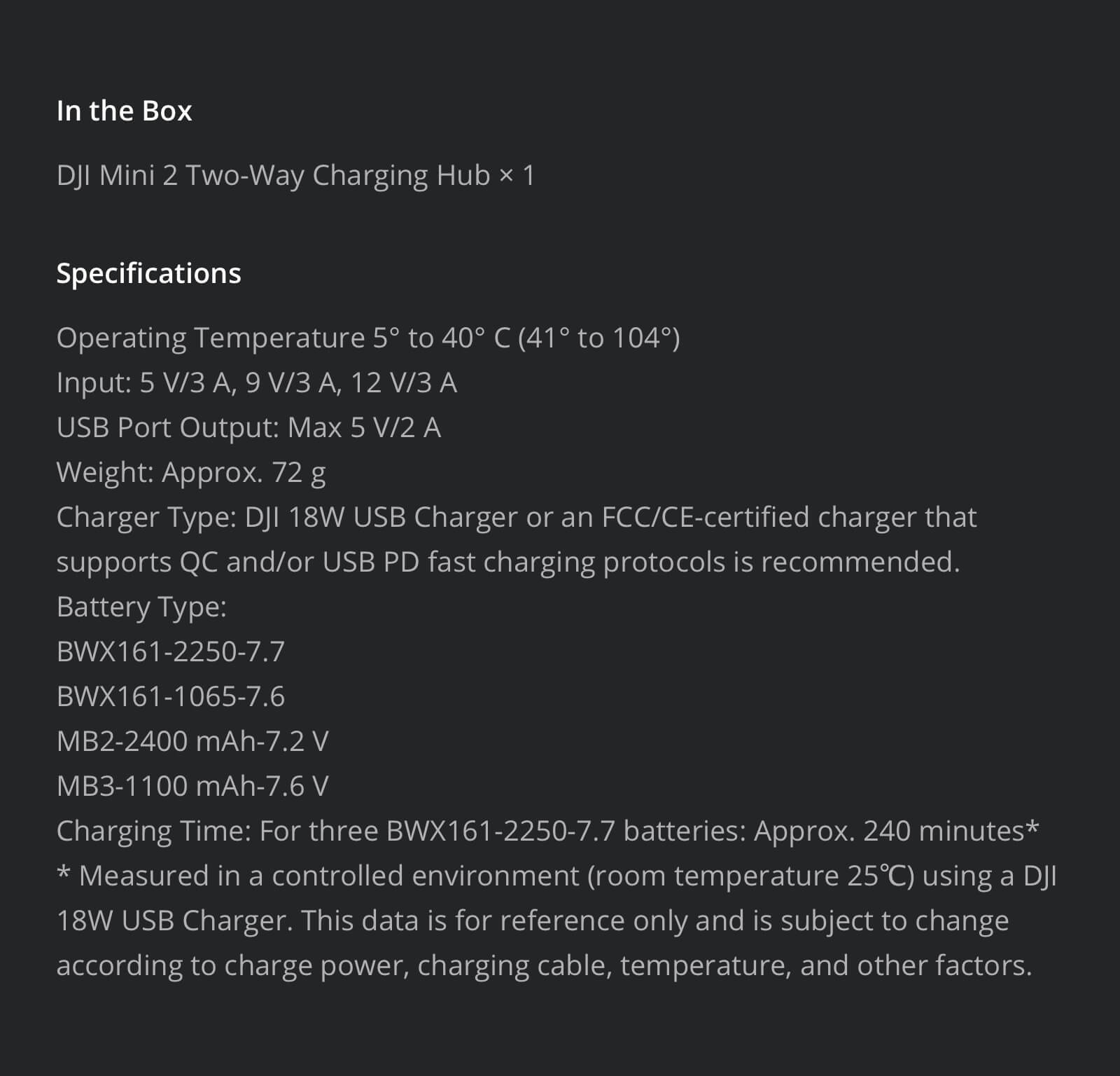 DJI Mini 2 Two-Way Charging Hub Specifications and Included