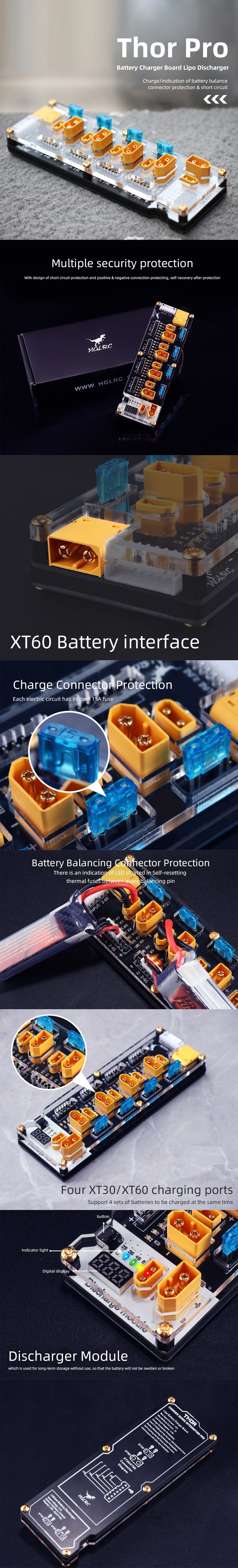 HGLRC Thor Pro LiPo Parallel Balance Charging Board - XT30 and XT60 Safety Features and Specifications