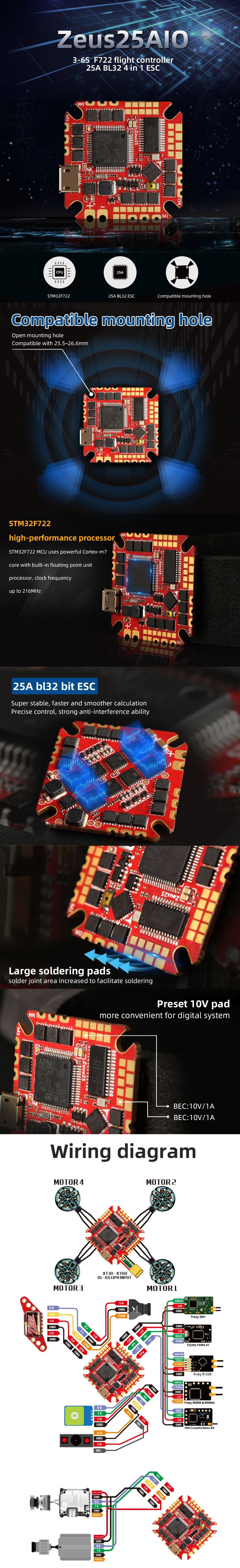 HGLRC Zeus25 AIO - F722 FC and 25A BL32 ESC Features and Wiring Diagram