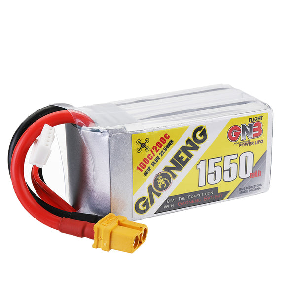 GNB 1550mAh 14.8v 4S 100C - XT60 Lipo Battery With Plastic Plate
