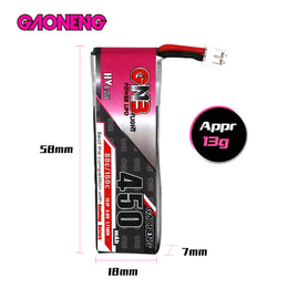 GNB 450mAh HV 3.8v 1S 80C - HV Lipo Whoop PH 2.0 Battery (2-Pack)