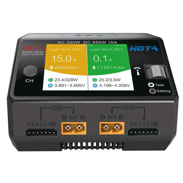 HOTA D6 Pro Dual Channel 325W 15A AC/DC Battery Charger w/ Wireless Cellphone Charging