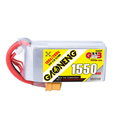 GNB 1550mAh 11.1v 3S 100C - XT60 Lipo Battery with Plastic Plate