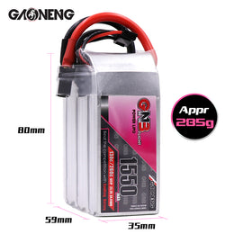 GNB 1550mAh 22.2v 6S 130C - XT60 Lipo Battery with Plastic Plate