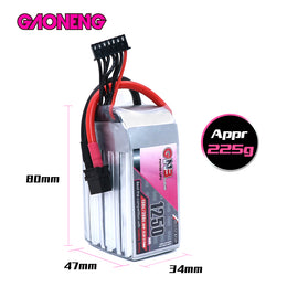 GNB 1250mAh 22.2v 6S 130C - XT60 Lipo Battery with Plastic Plate