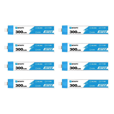 BETAFPV BT2.0 300mAh 1S 30C HV Battery (8pcs)