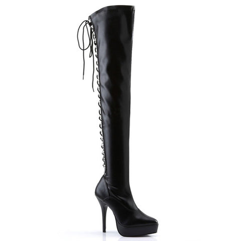 "Indulge-3063 Thigh High 5"" Lace-up Boots"