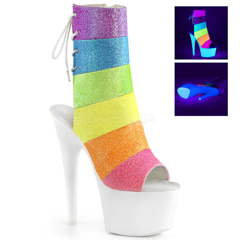 Adore-1018RBG Neon Rainbow Ankle Boots