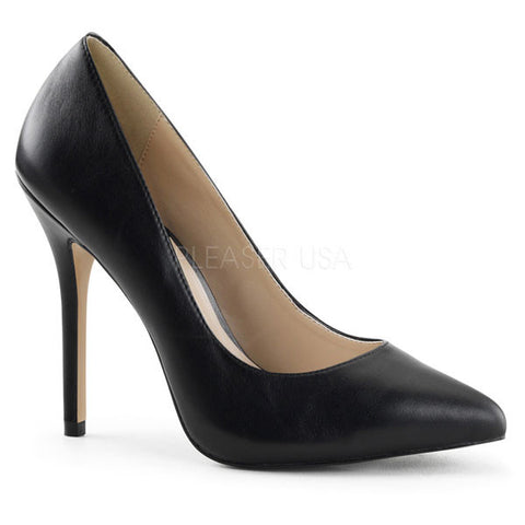 Pleaser AMUSE-20 Black Leather Pumps