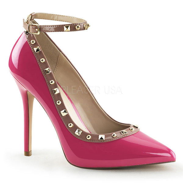Pleaser AMUSE-28 Studded Ankle Strap Heels