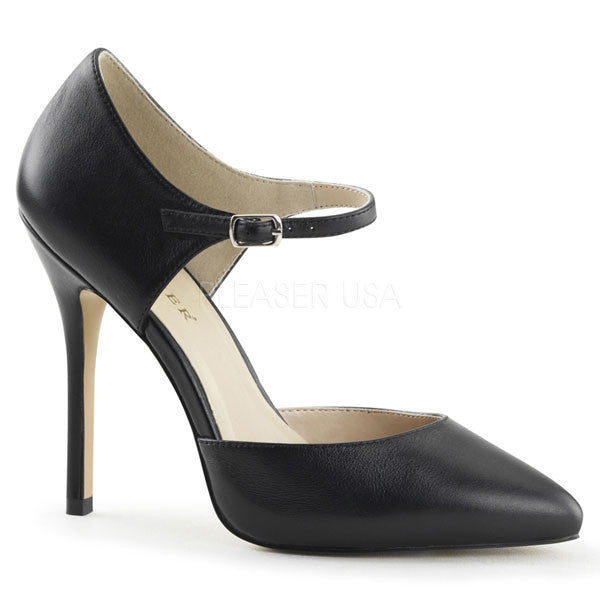 Pleaser AMUSE-35 Leather Ankle Strap Heels