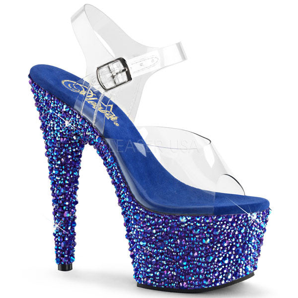 8738e1c7df7 Pleaser BEJEWELED-708MS Blue Rhinestone Platform Heels - Pleaser Shoes