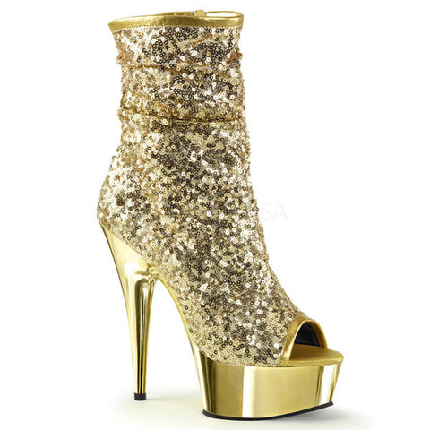 Pleaser DELIGHT-1008SQ Sequin Ankle Boot
