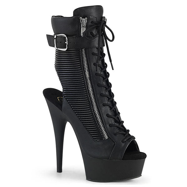 Delight-1016-1 Buckled Black Ankle Boots