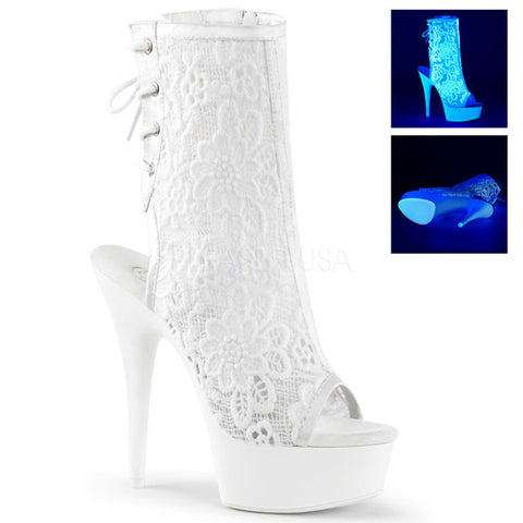 "DELIGHT-1018ML Neon Lace 6"" Platform Boot"