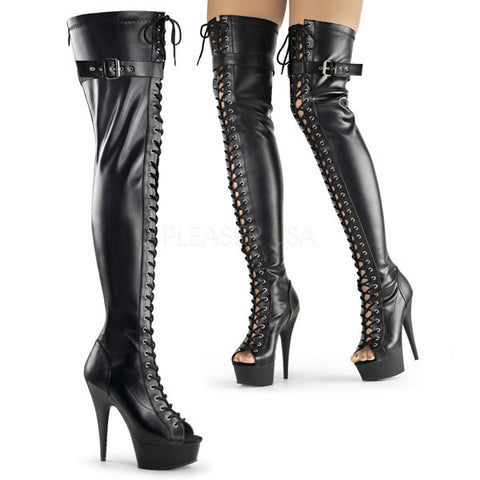 DELIGHT-3025 Buckled Thigh High Boots