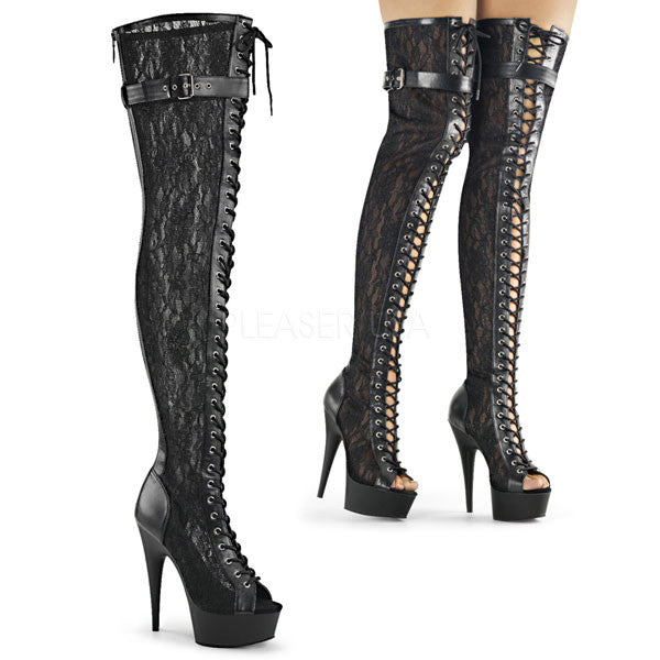 Pleaser DELIGHT-3025ML Thigh High Lace