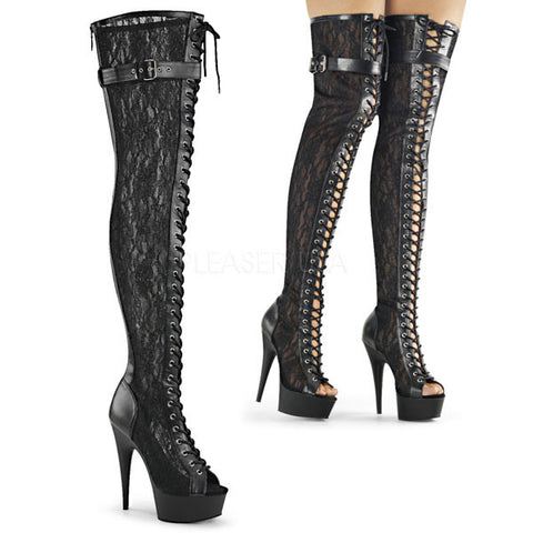 Delight-3025ML Black Lace Thigh High Boots