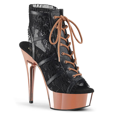 "Delight-696LC Black Lace 6"" Ankle Bootie"