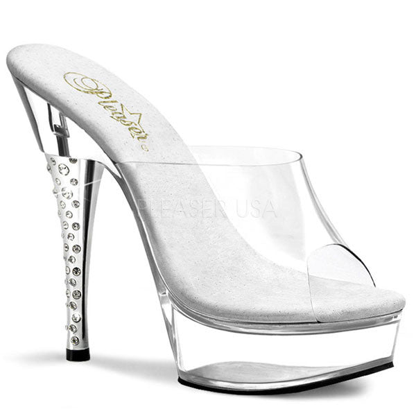 311b3bb456076 Pleaser DIAMOND-601 Clear Platform Slide - Pleaser Shoes