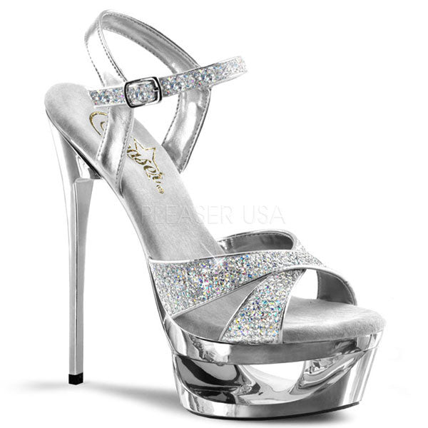 90ccb25e5ddbb4 Pleaser ECLIPSE-619 Silver Stiletto Platform Heels - Pleaser Shoes