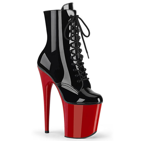 "Pleaser Black/Red Flamingo-1020 Lace-up 8"" Platform Boots"