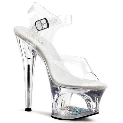Pleaser MOON-708DM Clear Platform Sandal