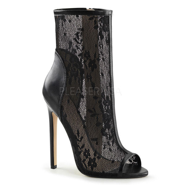 Sexy-1008 Black Lace Ankle Boots