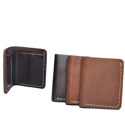 Crazy Horse Leather Short Wallet Retro Men Short Clutch Full Grain Leather Bifold Wallet YD1015 - ROCKCOWLEATHERSTUDIO