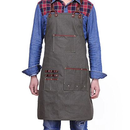 Waterproof Apron Leather And Canvas Tool Apron Craftsman Apron YD5895 - ROCKCOWLEATHERSTUDIO