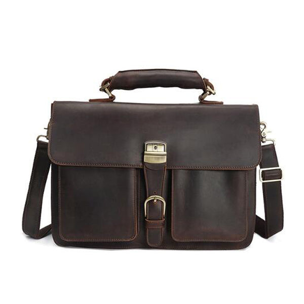 Crazy Horse Leather Work Tote Men Shoulder Messenger Bag Retro Men Briefcase YD8091 - ROCKCOWLEATHERSTUDIO