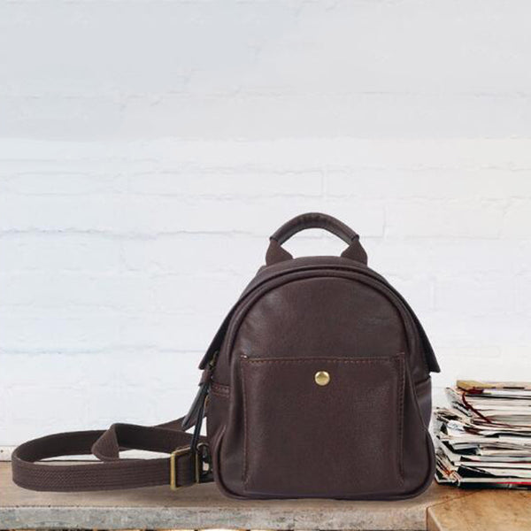 Ladies Small Backpack Full Grain Leather Women Backpack Retro Mini Backpack YD8133 - ROCKCOWLEATHERSTUDIO