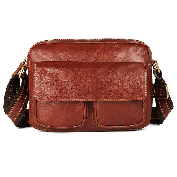 Top Grain Leather Messenger Bags Business Leather Bags For Men Corssbody Side Single Shoulder Bag 1039 - ROCKCOWLEATHERSTUDIO