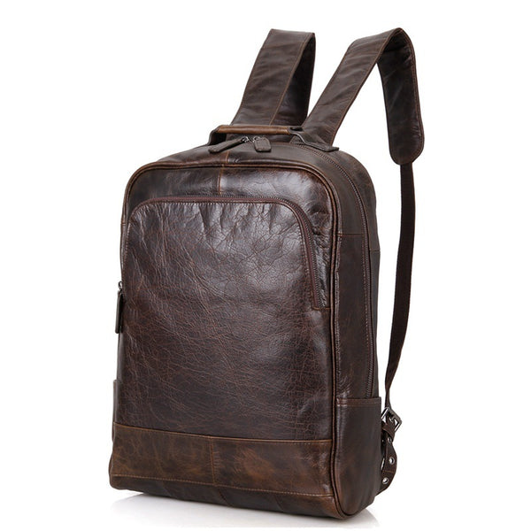 Top Grain Leather Backpack,  Oil Wax School Bag, Casual Shoulder Bag For Women and Men 7347