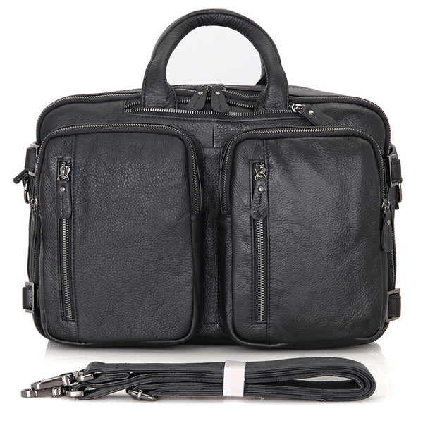 Full Grain Leather Briefcase Leather Business Laptop Backpack Messenger Shoulder Bag 7014 - ROCKCOWLEATHERSTUDIO